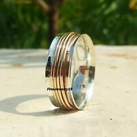 925 Sterling Silver Spinner Ring Band Meditation Statement Handmade Jewelry A93