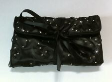 Black Jewellery Wrap Roll Travel Organiser Holder Made With SWAROVSKI ELEMENTS