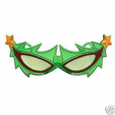 Green Crazy CHRISTMAS TREE NOVELTY GLASSES w/ Stars holiday party gag gift