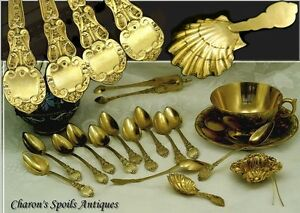 Antique French Restauration Era Vermeil Silver Tea Set