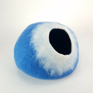 Ocean Blue and White Walking Palm Cat Cave Pet Bed LARGE For Cats and Dogs