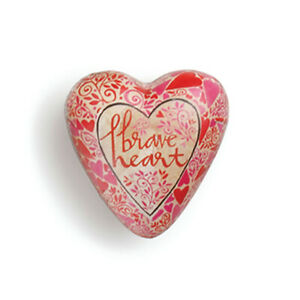 Brave Heart Floral Red 2 x 2 Resin Stone Collectible Art Heart Token Figurine