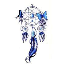 Flash Einmal Temporary Klebe Tattoo Traumfänger Blau Dreamcatcher Party Geschenk