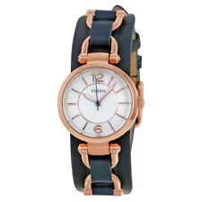 Fossil Georgia White Dial Navy Blue Leather Ladies Watch ES3857