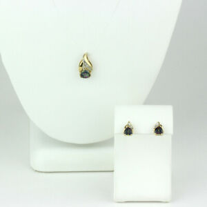10k Yellow Gold, Mystic Topaz and Diamond Stud Earrings and Pendant Set