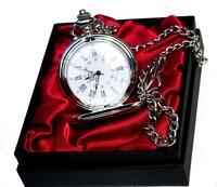 Personalised Engraved Silver Pocket Watch/Chain red satin Gift Box Wedding Gift