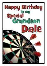 darts personalised A5 birthday card dad son brother nephew uncle name age