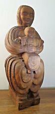 GRANDE STATUE bois précieux VIERGE À L'ENFANT CHRIST BRAS OUVERTS sculpture