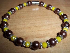7.25 in BROWN Pearl YELLOW Crystal Bracelet MAGNETIC Clasp A-44 Quality Jewelry