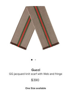 """NWT GUCCI SILK WOOL SCARF JACQUARD KNIT LIGHT BROWN WITH GREEN & RED 78"""" X 14"""""""
