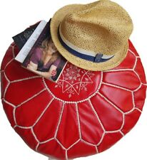 Red Foot stool Leather Round  Poof  Hassock Moroccan footstool