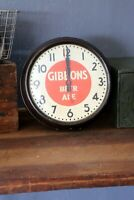 Vintage 1950's GIBBONS BEER ALE Telechron Wall Clock Bakelite with Glass Face