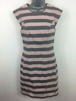 WOMENS FRENCH CONNECTION PINK GREY HORIZONTAL STRIPED FITTED SHEATH DRESS UK 12