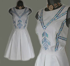 KAREN MILLEN White Jacquard Embroidered Cut Out Back Cotton Dress 14  EU 42 £180
