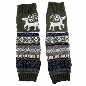 Knitted Festive Reindeer Knee High Warm Winter Leg Warmers Comfy Footless Socks