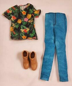 Barbie Fashionistas Slim Petite Ken Hawaiian Shirt Aqua Blue Pants Boots Outfit