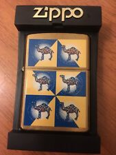 Vintage Rare Camel Joe Zippo Lighter 6 Cubed Geometric Gold Platted