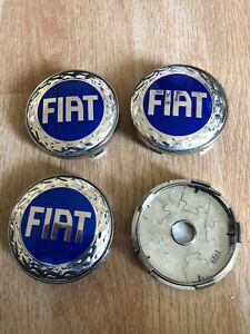 4 PCS Fiat Wheel Centre Cap Alloy Hub Center Caps 60mm Blue/Silver