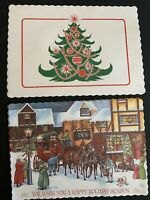 Lot of vintage Christmas paper place mats. 25 Country Inn, 6 Christmas Tree