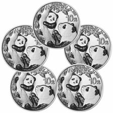 Lot of 5 2021 China 30 g Silver Panda ¥10 Coins Gem Bu
