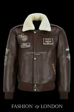 AVIATOR Mens Bomber Jacket Brown Hide Fur Collared Air Force Leather Jacket 1224