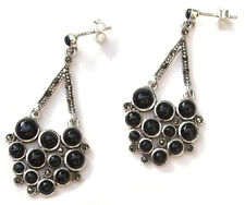 24x schwarzer Onyx 26x Markasit 925 Silber große Ohrringe BLACK MAGIC BEAUTY
