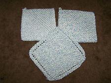 New Handmade 100% Cotton Potholders & Washcloth Kitchen Great Gift Twist Blue