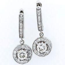1.60 Ct Round Diamond Dangling Earrings14k White Gold
