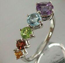 925 Sterling Silver Amethyst Topaz Peridot Garnet Citrine Ring US 7 3/4 2.6g