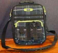 Oakley Messenger Bag Black Plaid Fabric Laptop Computer Vertical Shoulder Bag