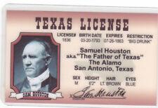 Sam Houston San Antonio Texas Tx the Alamo fake Id i.d. card Drivers License