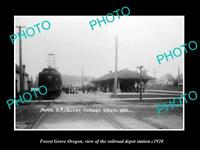 OLD LARGE HISTORIC PHOTO OF FOREST GROVE OREGON, THE RAILROAD STATION c1920
