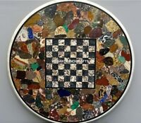 Marble Multi Stone Mosaic Table Top Chess Semi Precious Inlay Home Decor H3791
