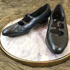 Penaljo Women's Sz 10 Black Pewter Leather Low Block Heel Loafer Dress Shoes
