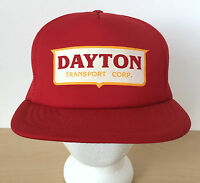 Vintage Dayton Transport USA Red Yellow Hipster Mesh Trucker Cap Hat Adjustable