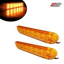"2x 13cm 5"" 12 Led Side Marker Lights Bar Utility Amber Lamps 24v Truck Trailer"