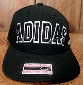 Adidas Originals Snapback Ball Cap Hat Black Wool Blend Raised Logo One Sz NWT