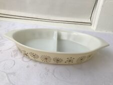 Vintage Pyrex Casserole Dish Divided 1 1/2 Quart Milk Glass Beige Oval Dandelion