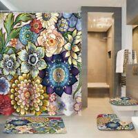 4Pcs/Set Blumen Duschvorhang Badezimmer Toilette Sitzbezug Matte Set Wasserfest