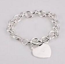 Acabado en plata esterlina pulsera de eslabones de cadena de código personal de corazón
