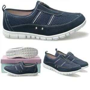 EEE Wide Fitting Trainers Shoes Navy Blue Zip Fastening