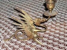 Stunning Ornate Brass Dragon Candle Holder Very Ornate Upright Wings Curly Tail