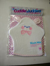 Baby Wash Mitten By Cuddle Buddies, Bear Design, White With Pink Trim, Brand New