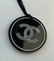CHANEL VIP GIFT charm plastic logo black-white round NEW