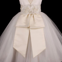 Ivory Sash Wedding Flower Girl Dress Bow Waistband S M L 12M 18M 2 4 6 8 10 12