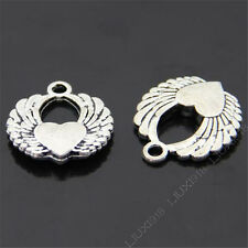 20pc Retro Pendants Charms Heart Angel Wings Pendant Findings Accessories V140