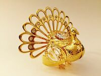 "SWAROVSKI CRYSTAL ELEMENTS ""Turkey"" FIGURINE - ORNAMENT 24KT GOLD PLATED"