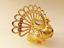 "SWAROVSKI CRYSTAL ELEMENTS ""Turkey"" FIGURINE - ORNAMENT 24KT GOLD PLATED"