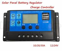 10/20/30A 12/24V LCD Display USB Solar Panel Battery Regulator Charge Controller