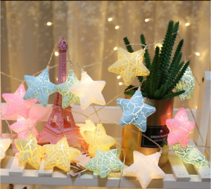 LED Crack Star Fairy Lamp Christmas Tree String Twinkle Flash Indoor Decor Light